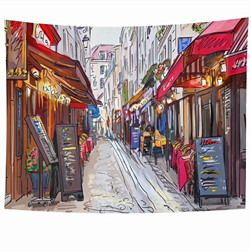 Cosmopolitan Wall Maps (Ahawoso Tapestry 60 x 50 Inches Drawing City Street in Paris France Downtown Map Cosmopolitan Built Design Wall Hanging Home Decor Tapestries for Living Room Bedroom Dorm)