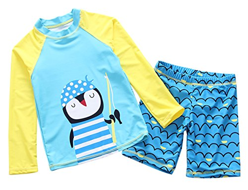 2 Clothes Western Piece (Girls Long Sleeve Swimsuit Two Piece Tight Compression Elastic Waistband Comfortable Summer Cover up Sets 6-7T Blue)