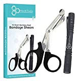 MedKTools 5.5'' Stainless Steel Bandage Scissors - High Quality LED Aluminum Pen Light - Great for Doctors, Nursing, Medical Students, EMT, First Aid Kits, Trauma Shears - Sharp and Precise