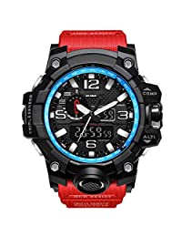 Bounabay Men's Analog Digital Dual-time Display Multifunctional Sports Wrist Watch,5ATM Waterproof, with LED Backlight