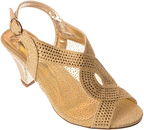 (kinmi03 Women Evening Sandal Rhinestone Gold Dress-Shoes Size)
