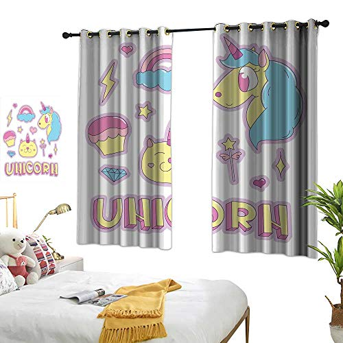 Warm Family Grey Curtains Unicorn Cat,Collection Fantastic Icons