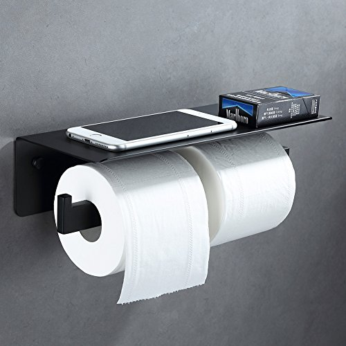 Copper Polished Paper Towel Holder (Double Toilet Paper Holder, APL SUS304 Stainless Steel Bathroom Paper Tissue Holder with Mobile Phone Storage Shelf Rack (Matte Black))