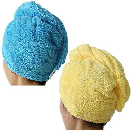 Lesirit Microfiber Hair Drying Towel with Button Ultra Absorbent Twist Hair Turban Quick Drying Cap Hair Wrap Pack of 2 (BL+YL)