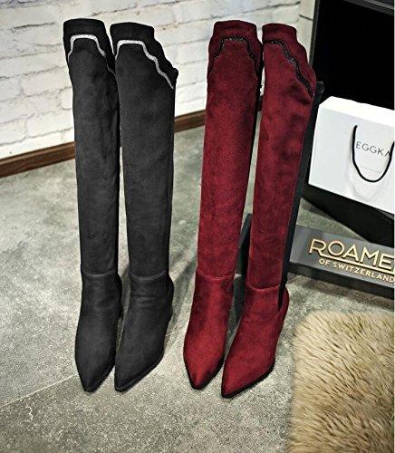 Ei&iLI Chaussures femme haut au-dessus du genou bloc Chunky talon Fashion bottes bottes à embout pointu extérieur / bureau & carrière / occasionnel , red , 37