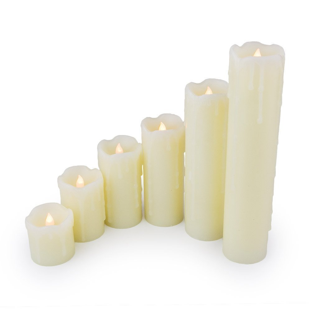 WYZworks LED TIMER Ivory Set of 6 Battery Operated Flameless Light Flickering Candle with Realistic Look [ Battery Included ] Realistic Faux Wax Drips