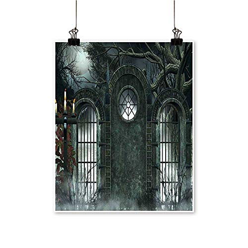 Canvas Print Wall Art Moon Halloween Ancient Historical Gate Gothic Background Candles Fiction View Gray Canvas Texture Decoration,28