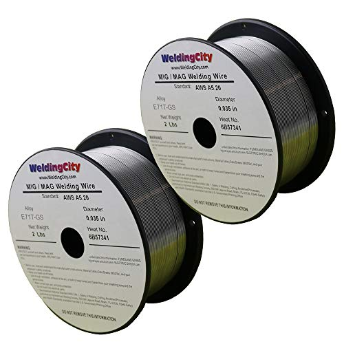 WeldingCity 2 Rolls of E71T-GS Flux Core Gasless Mild Steel MIG Welding Wire 0.030