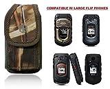 Premium Vertical Hunting CAMO Belt Case, Outdoor Tactical Pouch Holster Flip Phone Belt Case Fits Kyocera Cadence, Dura XTP, Dura XV E4520 Case, DuraXV Plus, Dura XE, Convoy 4, Most FLIP Phone