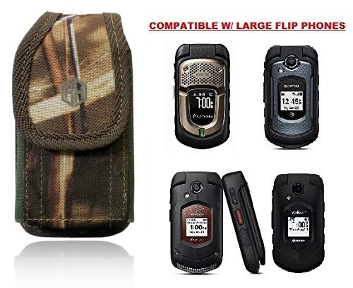 Premium Vertical Hunting CAMO Belt Case, Outdoor Tactical Pouch Holster Flip Phone Belt Case Fits Kyocera Cadence, Dura XTP, Dura XV E4520 Case, DuraXV Plus, Dura XE, Convoy 4, Most FLIP Phone (Samsung Rugby Cell Phone Case)