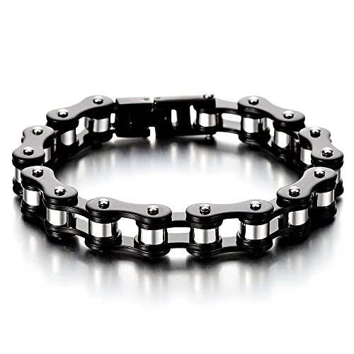 COOLSTEELANDBEYOND Masculine Mens Bike Chain Bracelet of Stainless Steel Black Silver Two-Tone High Polished