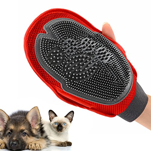 Pet Grooming Glove - Dual-Sided Deshedding, Massaging, and Pet Hair Removal Tool - Bath Brush or Mitt with Breathable Mesh, Adjustable Velcro Strap - Works For Long or Short-Hair Dogs, Cats, Horse