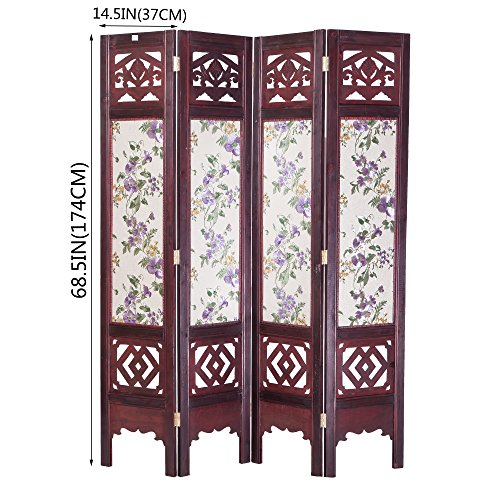THY COLLECTIBLES Vintage Oriental Style 4 Panels Screen Room Divider FUR1006