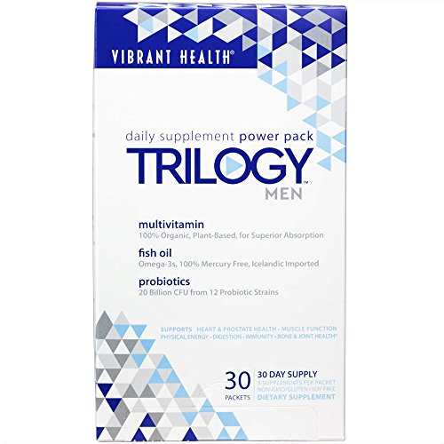 Vibrant Health Trilogy for Men A Multivitamin, Fish Oil, and Probiotic, 30 Packets