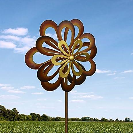 Kinetic Wind Sculpture Modern Art Triple Flower Spinner Metal Garden  Outdoor Pinwheel
