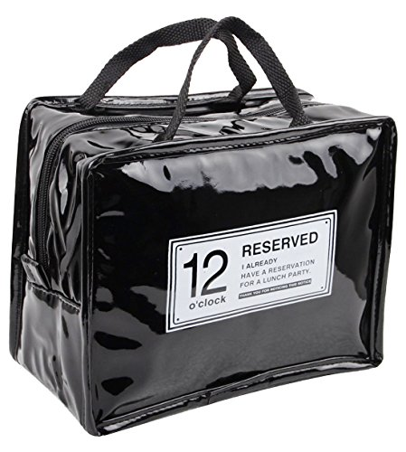 Black Patent Lunch Bag - 1