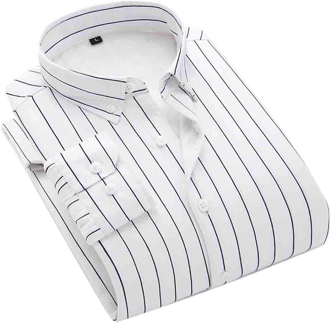 Keaac Mens Trendy Stripe Print Fleece Button Down Long Sleeve Shirts