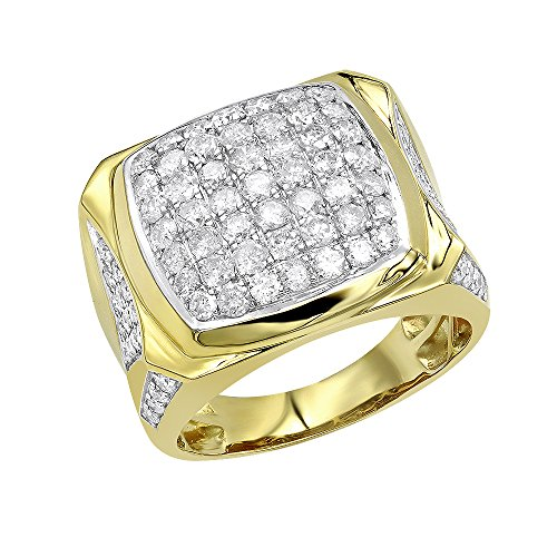 Platinum Pinky Rings (Statement Jewelry: 10k Gold Mens Diamond Ring 3 Carat Pinky Band 3ctw (Yellow Gold, Size 11.5))