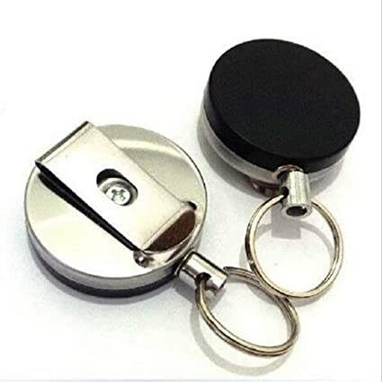 Amazon.com: Steel Wire Rope Chain Metal Retractable Key ...