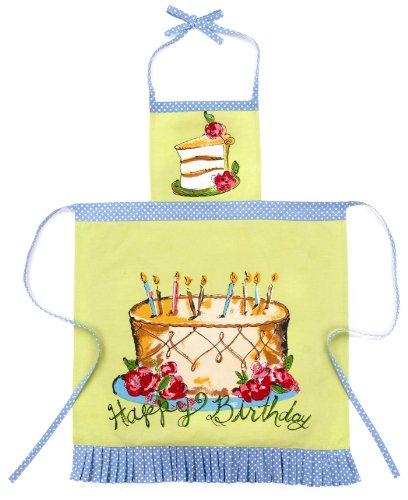 Julia Junkin Adult Full Apron, Lime, Happy Birthday