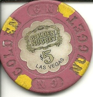 $5 old golden nuggett obsolete casino las vegas casino chip ()