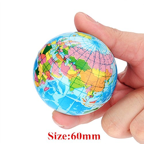 Wenini Mochi Squishys Toys, Mini World Map Foam Ball Atlas Globe Palm Ball Planet Earth Ball Mochi Squishies Toys Party Favors for Kids Toys (B - 60mm) by Wenini (Image #2)