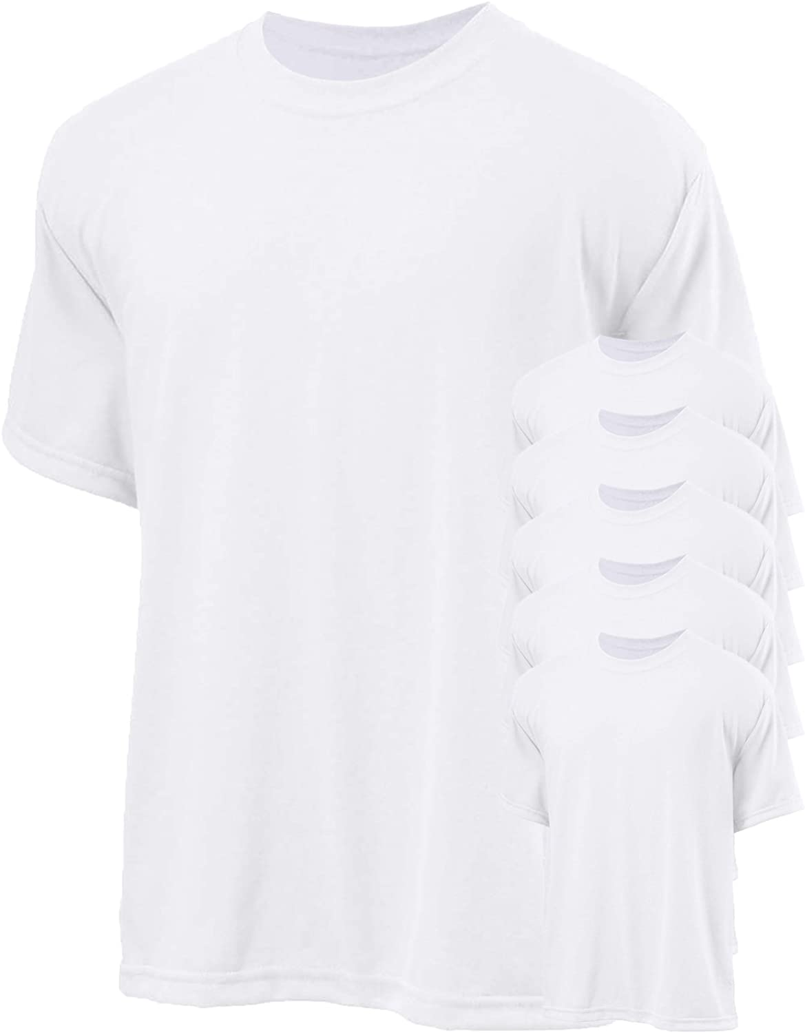 Jerzees 5.3 oz 1 Polyester Crew T-Shirt Pack of 6 White Small.