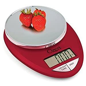 Ozeri ZK12-R Pro Digital Kitchen Food Scale, 1g/12 lb, Red Engine