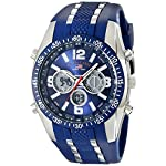 U.S. Polo Assn. Sport Men's Blue and Silver-Tone Analog/Digital Chronograph Watch US9284