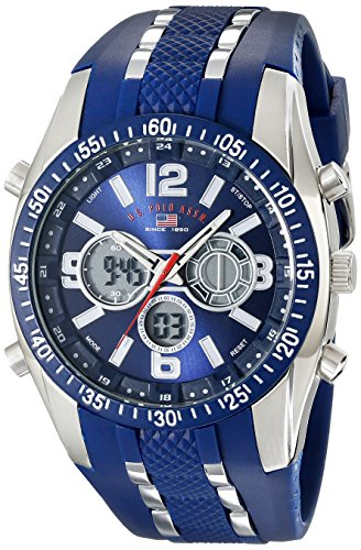 U.S. Polo Assn. Sport Men's US9284 Blue and Silver-Tone Analog/Digital Chronograph Watch (Analog Silver Tone)