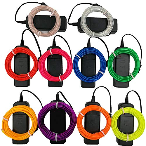 TGHCP-10Pack 9FT Neon Glowing EL Wire with Battery Pack(Aqua,White,Blue,Green,Orange,Pink,Red,Lime,Yellow,Purple) ()