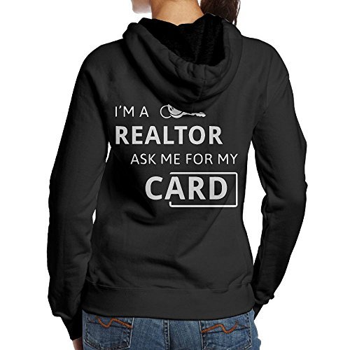 Back-charm Women's Real Estate Realtor I'm A Realtor Ask Me Classic Print Pullover Hooded Sweatshirt Hoodies L by Back-charm
