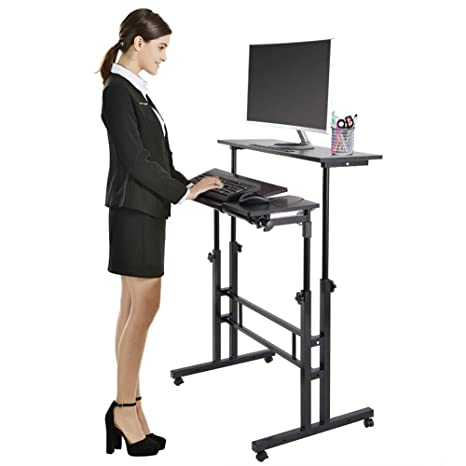 official photos 5481e a21b5 Height Adjustable Stand Up Computer Desk, Mobile Standing Computer  Workstation Home Office Desk with Wheels, Black