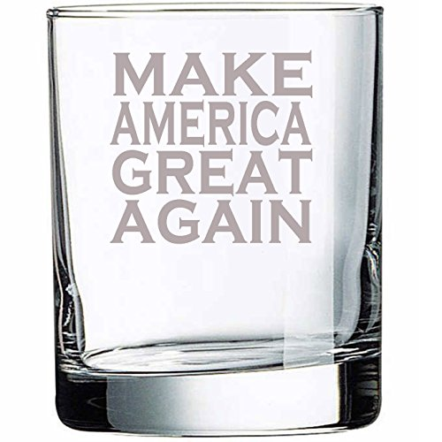 (R136 Make America Great Again Funny 10 oz Rocks Glass Permanently Etched, Donald trump, President, Government, Gift for Dad, Co-worker, Friend, Boss, Christmas Gift )
