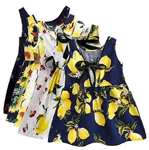 Baby Girl Jurk Mouwloos Flower Gedrukt Vest Princess Dress for Infant Girl Blue Lemon 100cm