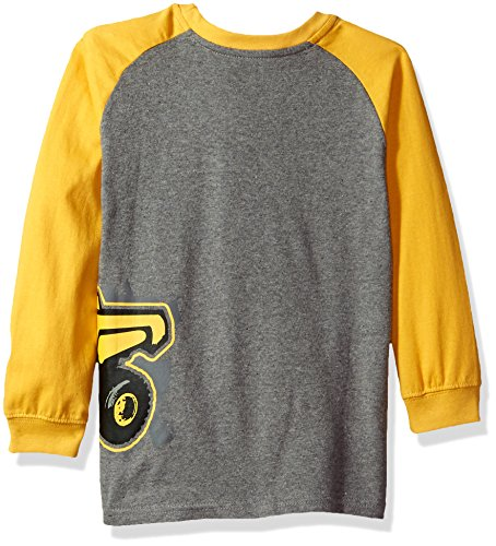 John Deere Little Boys' Long Sleeve Raglan Tee, Yellow Dumptruck, 5
