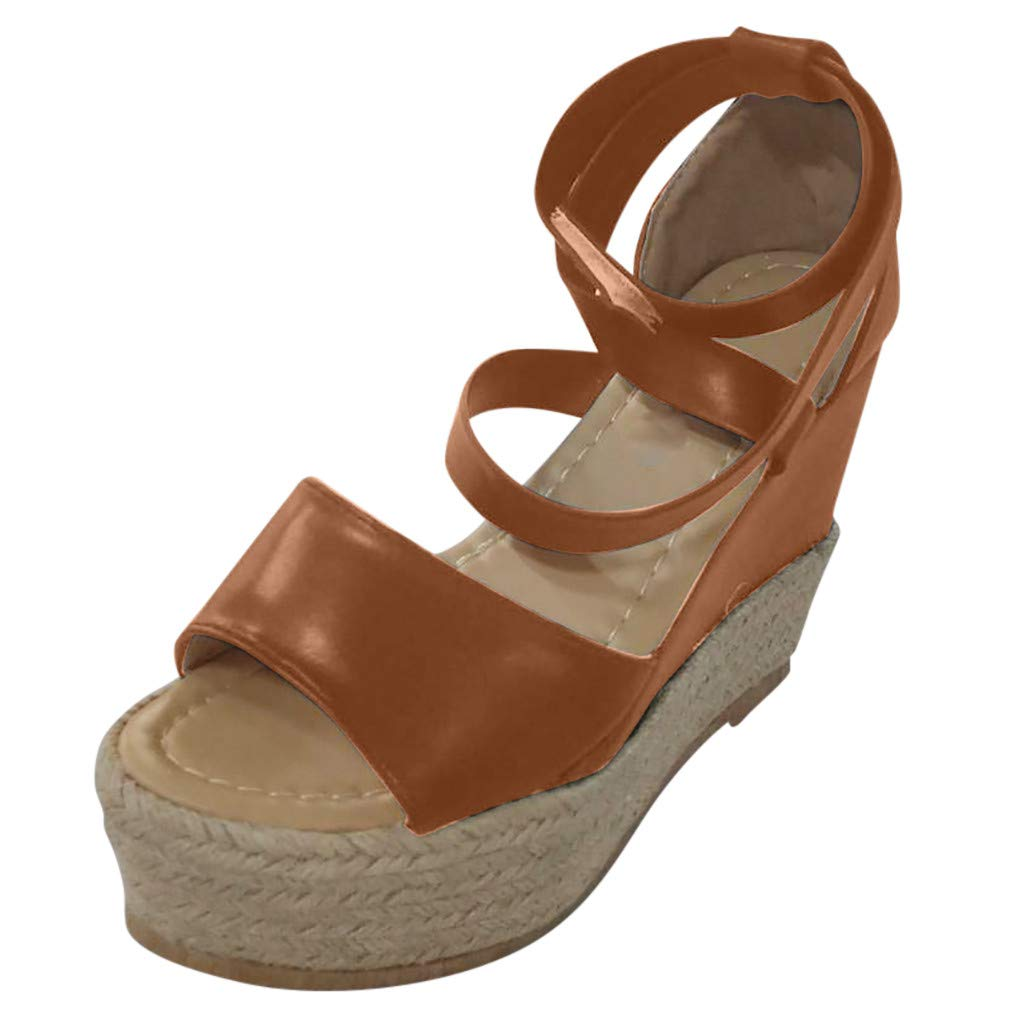 Opinionated ❤Women's Cross Strap Wedges Thick Platform Roman Sandals Wedge - Ladies Espadrille Wedges with Concealed Orthotic Arch Support