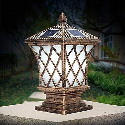 Modeen Continental Outdoor Frosted Glass Solar Energy Column Lamp Modern Simple Waterproof Lawn Lights Garden Lights Post Pillar Fence Pillar Lamp Column Post Lamp