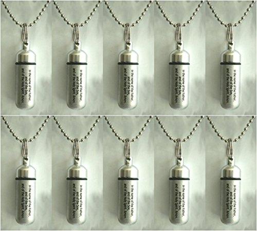 - Set of TEN Classic Brushed Silver ANOINTING OIL HOLDER/Vial Necklaces with ENGRAVED BLESSING - Includes Velvet Pouches, Ball-Chains & Funnel