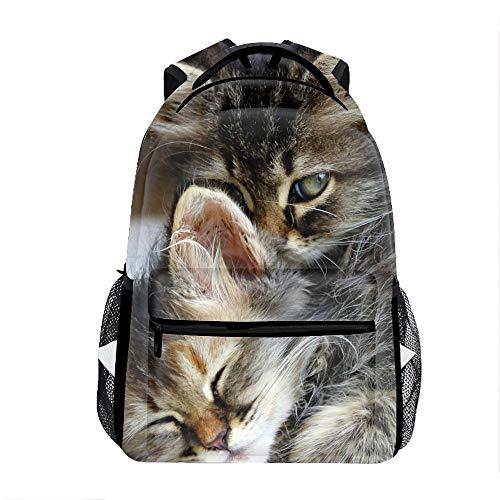 3D Printing Kitten Hug Sleep Cute Eyes Baby School Bookbag Travel Backpack 11.5x8x16