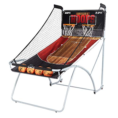 - ESPN EZ Fold Indoor Basketball Game for 2 Players with LED Scoring and Arcade Sounds (6-Piece Set)