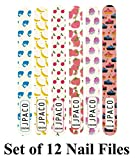 12 PCS Professional Cute Nail Files - 120/240 Grit Size