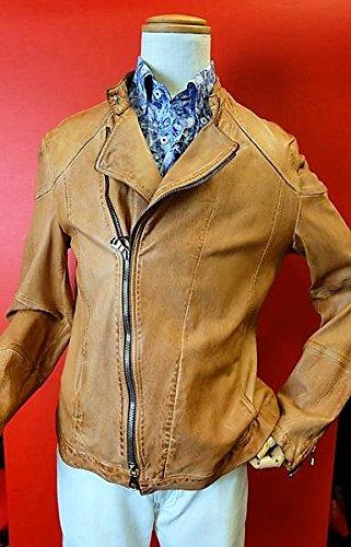 【ライダースジャケット】【レザージャケット】【レザーブルゾン】【イタリア製】【インポート】【メンズ】【ブランド】【メンズファッション】 イタリア製ライダースジャケット オレンジ 52サイズ B07DRPQGP4