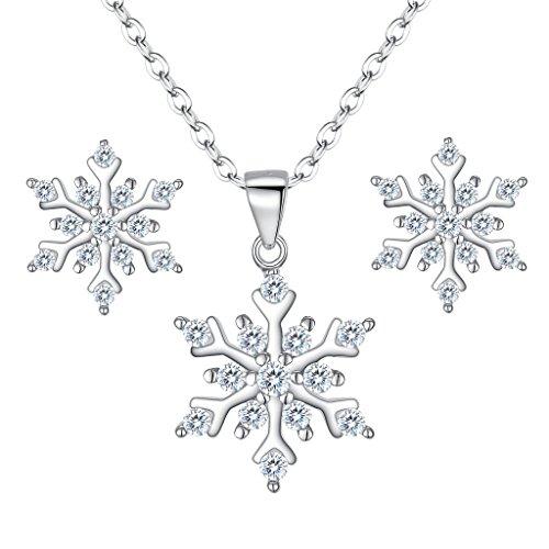 EleQueen 925 Sterling Silver Cubic Zirconia Winter Snowflake Pendant Necklace Stud Earrings Set (Earrings Winter Snowflake)
