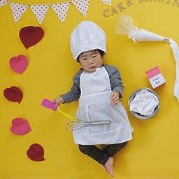 Amazon Co Jp Lollypops オリジナル コック帽 エプロン シェフ セット フリーサイズ 0歳 1歳 2歳 撮影衣装 並行輸入品 服 ファッション小物