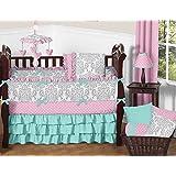 Sweet Jojo Designs 9-Piece Boutique Skylar Turquoise Blue Pink Polka Dot and Gray Damask Girls Baby Bedding Crib Set
