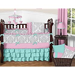 Sweet Jojo Designs Boutique Skylar Turquoise Blue Pink Polka Dot and Gray Damask Flower for girls Baby Bedding 9 Piece Crib Set