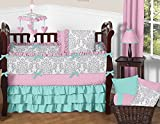 Sweet Jojo Designs Boutique Skylar Turquoise Blue Pink Polka Dot and Gray Damask Girls Baby Bedding 9 Piece Crib Set