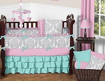 sweet jojo designs 9piece boutique skylar turquoise blue pink polka dot and gray damask