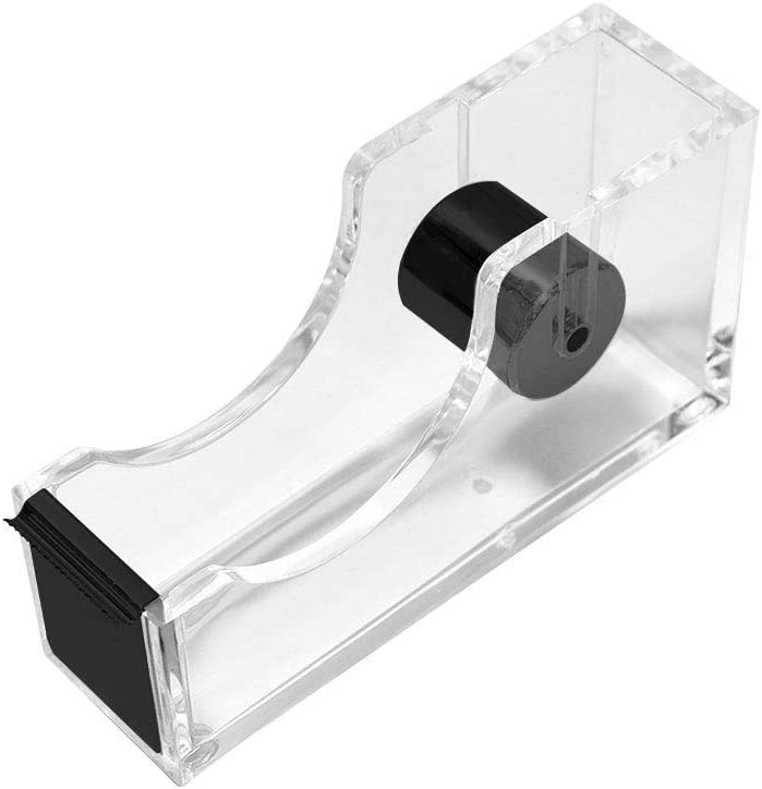 Tape Dispenser for Desk Heavy Duty Acrylic 1–Inch Core Nonslip Desktop Adhesive Tape Cutter Holder with 1 Roll Tape Office Supplies Desk Accessories (Transparent Black)